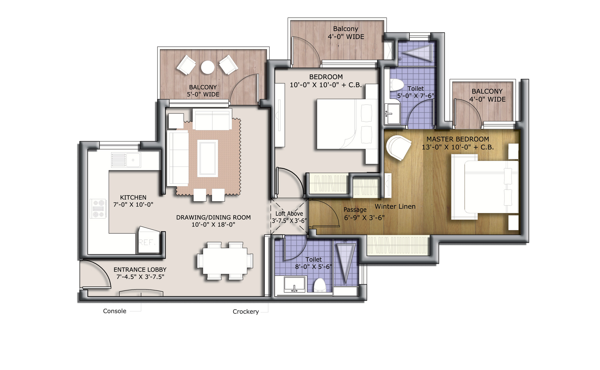 bptp discovery park 1120 sq feet floor plan