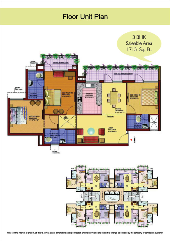 3 bhk floor plan of srs royal hills