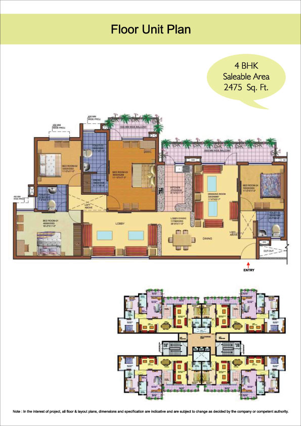 floor plan 4 bhk