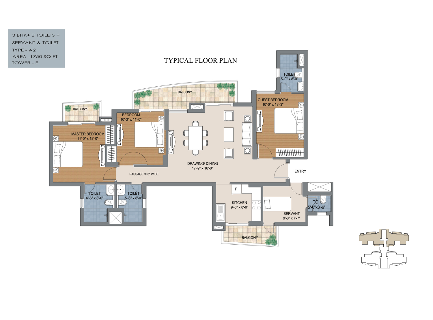 3 bhk floor plan of bptp the resort with 1875 sq feet